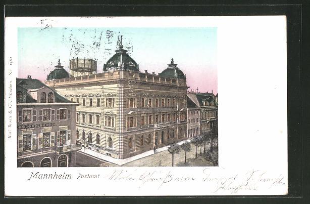Goldfenster-AK Mannheim, Postamt mit leuchtenden Fenstern