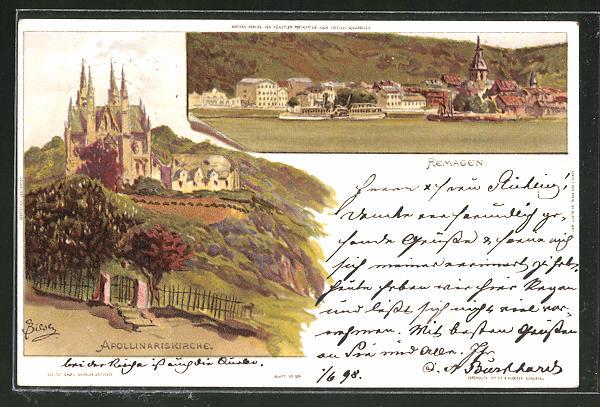 Künstler-Lithographie Carl Biese: Remagen, Apollinarikirche