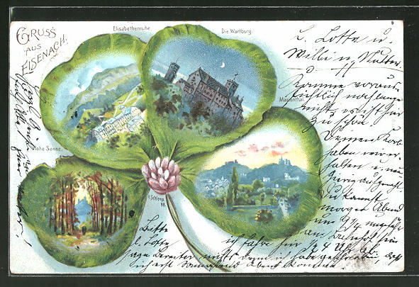 Passepartout-Lithographie Eisenach, Hohe Sonne, Elisabethenruhe, Wartburg, Marienthal, Klee