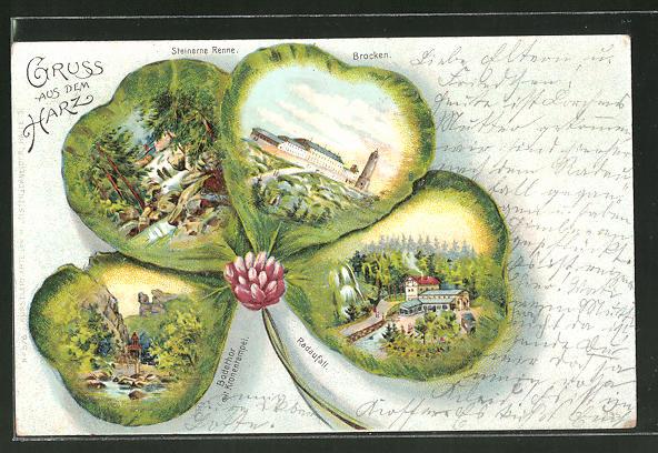 Passepartout-Lithographie Brocken, Bodethor mit Kronentempel, Steinerne Renne, Radaufall, Klee