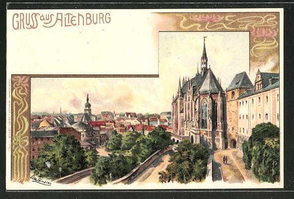 Künstler-Lithographie Erwin Spindler: Altenburg, Panorama mit Kirche