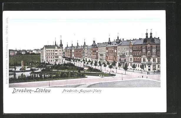 Goldfenster-AK Dresden-Löbtau, Gebäude am Friedrich-August-Platz mit leuchtenden Fenstern