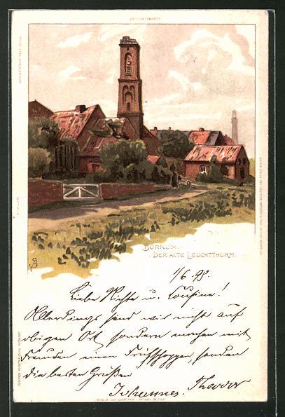 Künstler-Lithographie Carl Biese: Borkum, der Alte Leuchtthurm