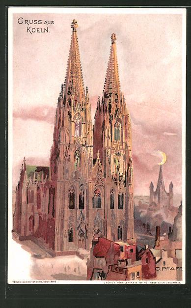 Künstler-AK C. Pfaff: Köln, Dom im Mondenschein