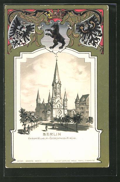 Passepartout-Lithographie Berlin-Charlottenburg, Kaiser Wilhelm-Gedächtnis-Kirche, Wappen
