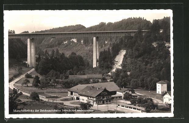AK Weyarn, Mangfallbrücke der Reichsautobahn München-Landesgrenze