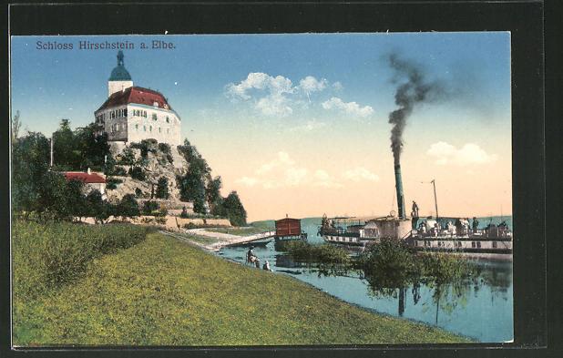 AK Hirschstein an der Elbe, Schloss Hirschstein und Elbdampfer
