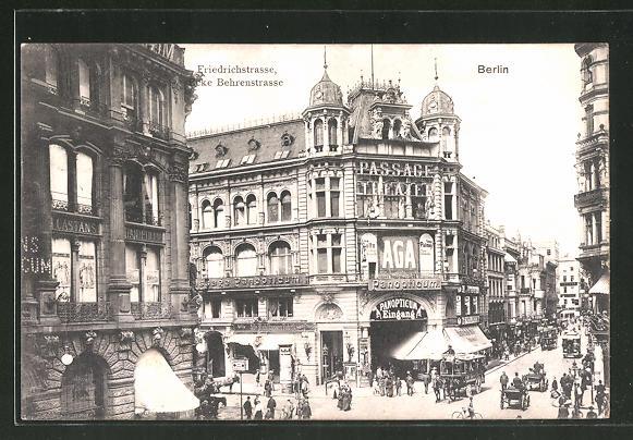 AK Berlin, Friedrichstrasse-Ecke Behrenstrasse, Geschäfte