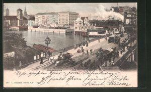 AK Berlin, Jannowitzbrücke mit Dampferstation