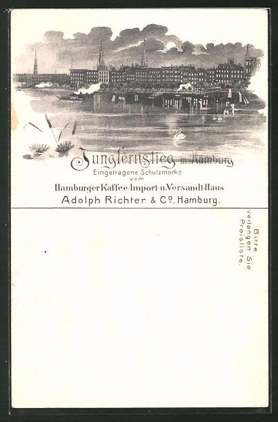 Lithographie Hamburg-Neustadt, Blick auf den Jungfernstieg von der Alster aus gesehen