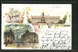 Lithographie Berlin, Kgl. Museum, Denkmal Friedrich Wilhelm III., Kaiser Wilhelm Brücke, Kaiser Wilhelm Strasse