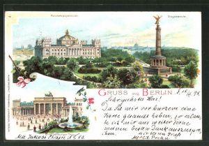 Lithographie Berlin-Tiergarten, Siegessäule, Reichstagsgebäude, Brandenburger Tor