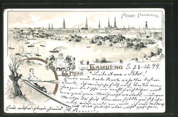 Lithographie Hamburg-Neustadt, Alster Panorama aus der Vogelschau