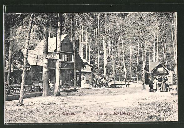 AK Uttewalde, Gasthaus Wald-Idylle im Uttewaldergrund