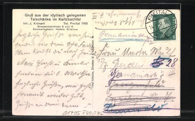 AK Freital, Gasthaus Talschänke im Kaitzbachtal Nr. 7804728 ...