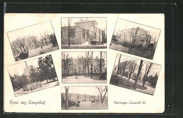 AK Berlin-Tempelhof, Garnison-Lazarett II., verschiedene Ansichten
