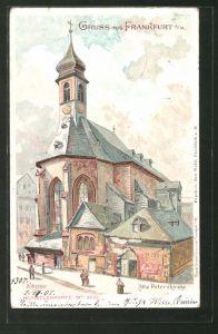 Lithographie Frankfurt, Blick auf die alte Peterskirche