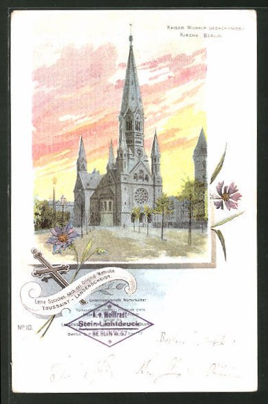 Lithographie Berlin-Charlottenburg, Partie an der Kaiser Wilhelm Gedächtnis Kirche