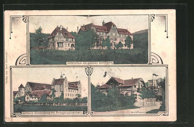 AK Glücksburg, Sanatorium am grossen Gleichberg, Schloss mit Kriegerwaisenhaus, Waldhaus