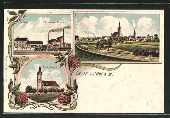 Lithographie Weitmar, Bahnhof, Chemische Fabrik, Evang. Kirche