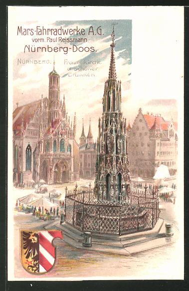 Lithographie Nürnberg, Frauenkirche & schöner Brunnen, Wappen