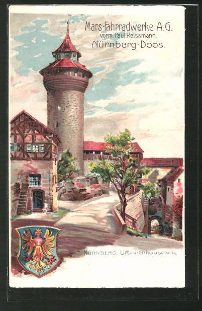 Lithographie Nürnberg-Doos, Brunnenhäuschen, Wappen
