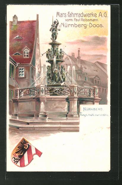 Lithographie Nürnberg, Partie am Tugendbrunnen