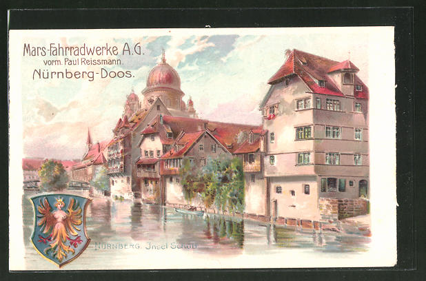 Lithographie Nürnberg-Doos, Mars-Fahrradwerke AG, Insel Schütt und Wappen