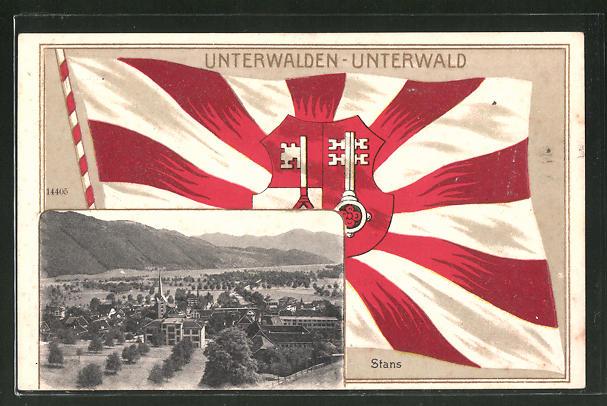 Passepartout-Lithographie Stans, Fahne des Cantons Unterwald