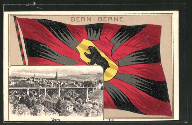 Passepartout-Lithographie Stans, Fahne des Cantons Bern