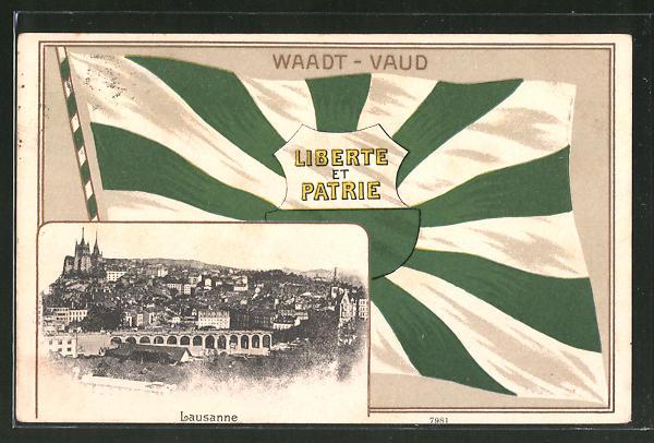 Passepartout-Lithographie Lausanne, Fahne des Cantons Waadt