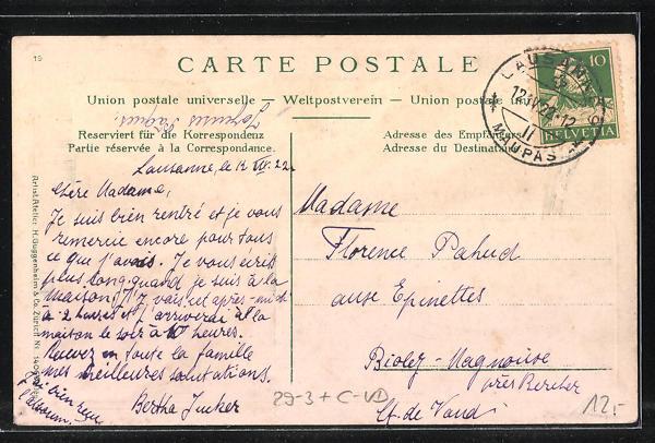Passepartout-Lithographie Lausanne, Fahne des Cantons Waadt 1
