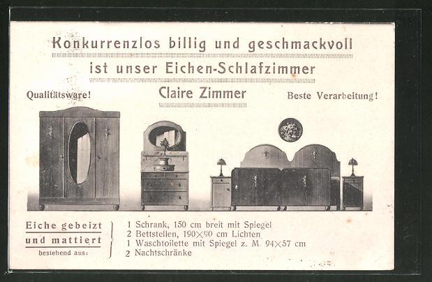 AK Willi Busch Möbelfabrik Nienhagen, Eichen-Schlafzimmer