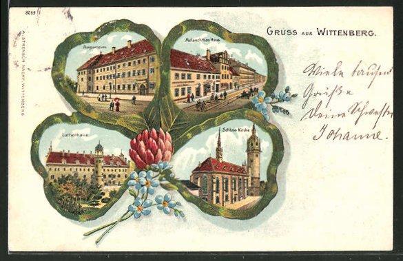 Glitzer-Passepartout-Lithographie Wittenberg, Lutherhaus, Augusteum, Melanchthonhaus, Schlosskirche