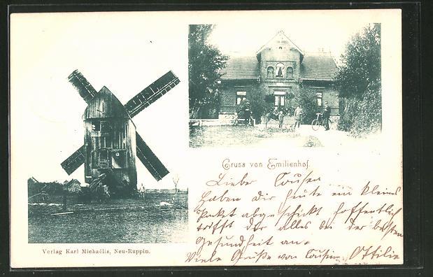 AK Emilienhof, Vorderansicht und Windmühle