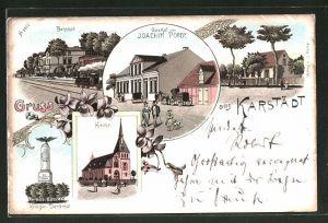 Lithographie Karstädt, Gasthof Joachim Porep, Bahnhof, Kirche, Krieger-Denkmal
