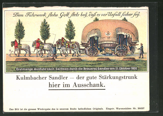 AK Kulmbacher Sandler - der gute Stärkungstrunk, Erstmalige Ausfuhr nach Sachsen 1831