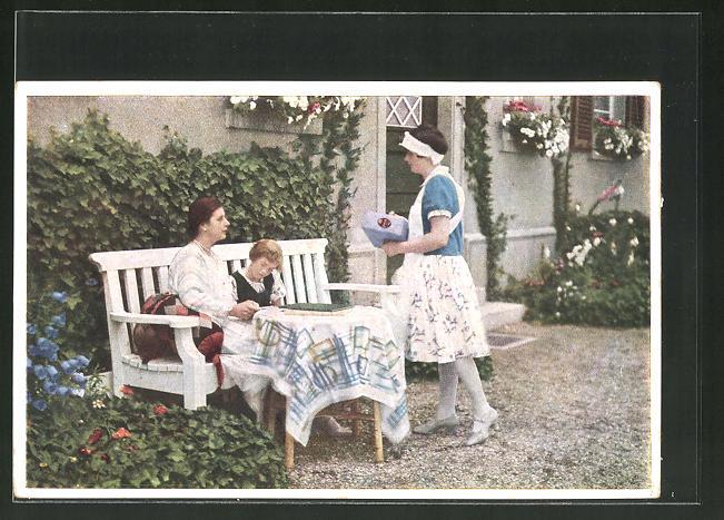 AK Indanthren, Dame mit Kind und Dienstmädchen