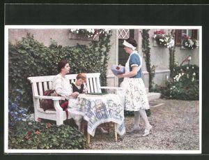 AK Indanthren, Dienstmädchen, Kind und Dame