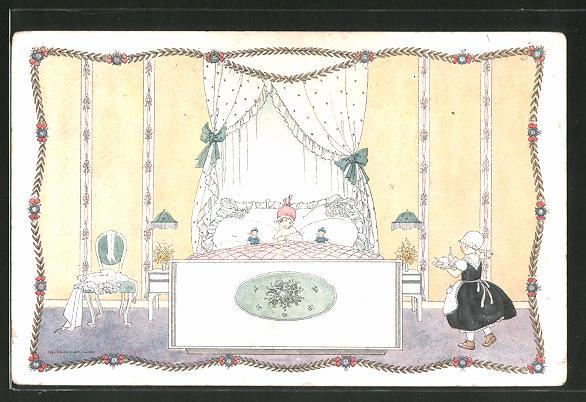 Künstler-AK Mela Köhler: kleine Dame im Bett und Dienstmädchen