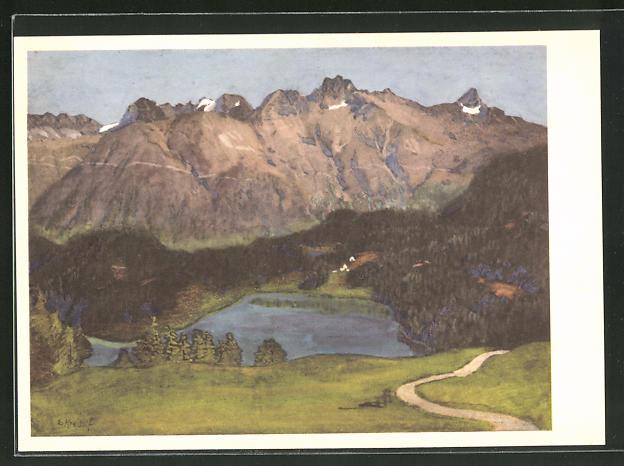 Künstler-AK Ernst Kreidolf: St. Moritzersee, Landschaft