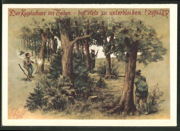 Künstler-AK Heinz Geilfus: Jägerhilfe, Der Kegelschuss ins Treiben - hat stets zu unterbleiben!