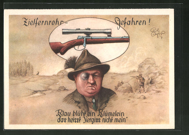 Künstler-AK Heinz Geilfus: Jägerhilfe, Zielfernrohr-Gefahren!