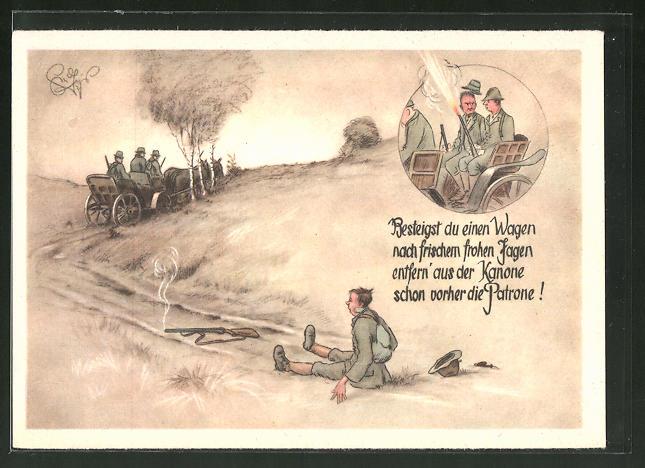 Künstler-AK Heinz Geilfus: Jägerhilfe, Besteigst du einen Wagen nach frischem frohen Jagen...