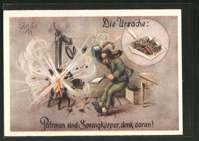 Künstler-AK Heinz Geilfus: Jägerhilfe, Patronen sind Sprengkörper