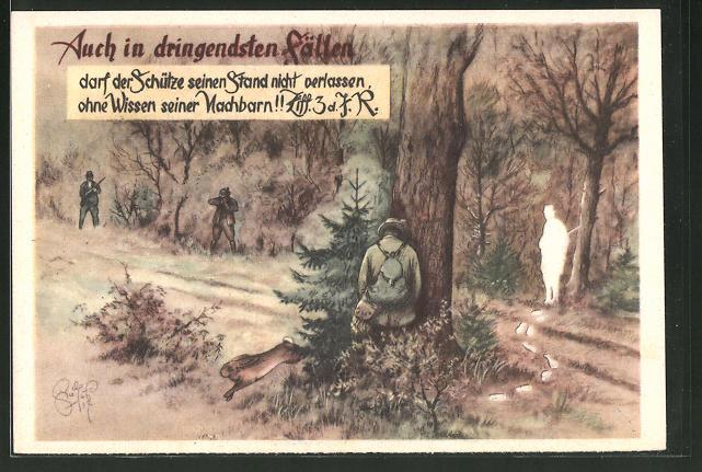 Künstler-AK Heinz Geilfus: Jägerhilfe, Auch in dringendsten Fällen...