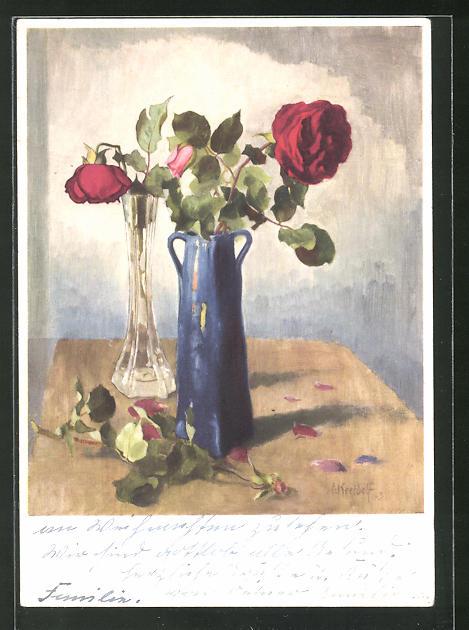 Künstler-AK Ernst Kreidolf: Rose, Blumenvase