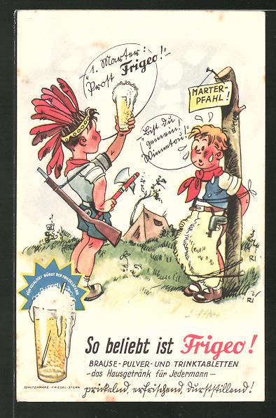 AK Reklame für Frigeo Brause-Pulver, Kinder spielen Cowboy und Indianer mit Frigeo Brause