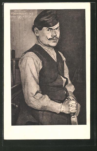 Künstler-AK Ferdinand Hodler: Portrait eines Schreiners