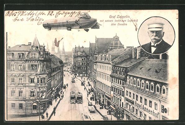 AK Dresden, Zeppelin über der Annenstrasse 23 mit Hotel Annenhof